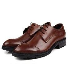 Mens Natrual Genuine Leather Business Dress Suit Shoes Men Brand Bullock Black Lace Up Wedding  JS-A0001