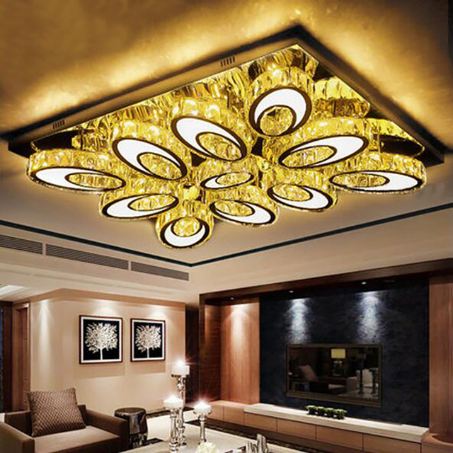 Style Modern Minimalism High Brightness LED Rectangular crystal Ceiling Explanations living room Lighting Bulb Ceiling Ceiling Lamps.