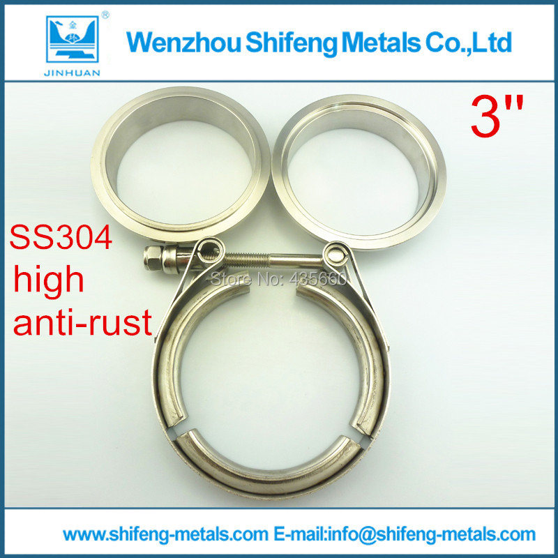 3 0 inch Stainless steel 304 Exhaust V Band Clamp Flange Kit with Male Female flanges
