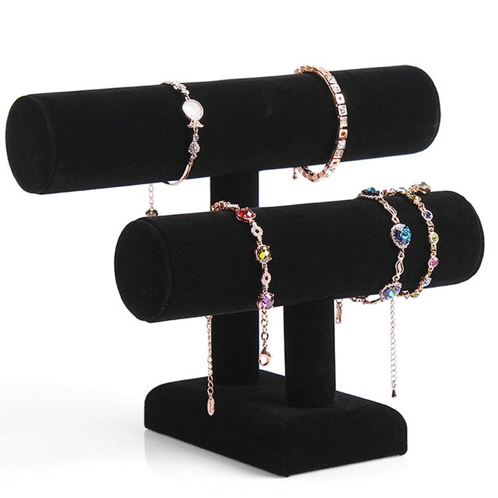 Removable Holder Black Velvet 2 Tier Necklace Jewelry Bangle Bracelet Organizer Holder Display Stand статуэтка jewelry stand 2