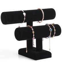 Купить с кэшбэком Removable Holder Black Velvet 2 Tier Necklace Jewelry Bangle Bracelet Organizer Holder Display Stand