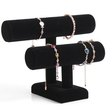 wood 3 tier bracelet watch stand holder jewelry showcase display storage necklace bangle organizer Removable Holder Black Velvet 2 Tier Necklace Jewelry Bangle Bracelet Organizer Holder Display Stand