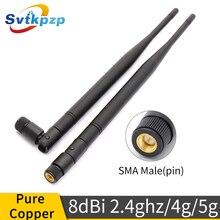 8dBi złącze męskie SMA 2.4ghz antena WiFi na zewnątrz dalekiego zasięgu 2.4G 4G 5G anteny uniwersalny Vhf bicz antena do routera