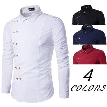 2018 Для мужчин рубашки прилив мода нагрудные Косой двубортный cultivate One\'s morality Для Мужчин\'s Повседневное длинные рубашка с рукавами h22