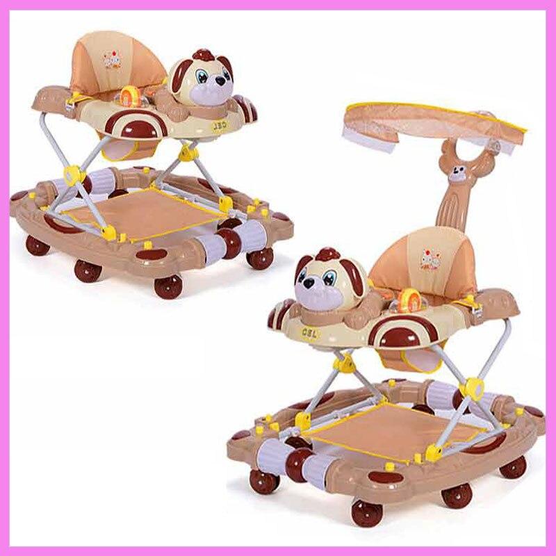 Baby Walker with 8 Wheels Anti Rollover Folding Stroller with Music Five Levels Adjustment Learning Walkers Rocking Hose Pram прогулочные коляски baby design walker lite