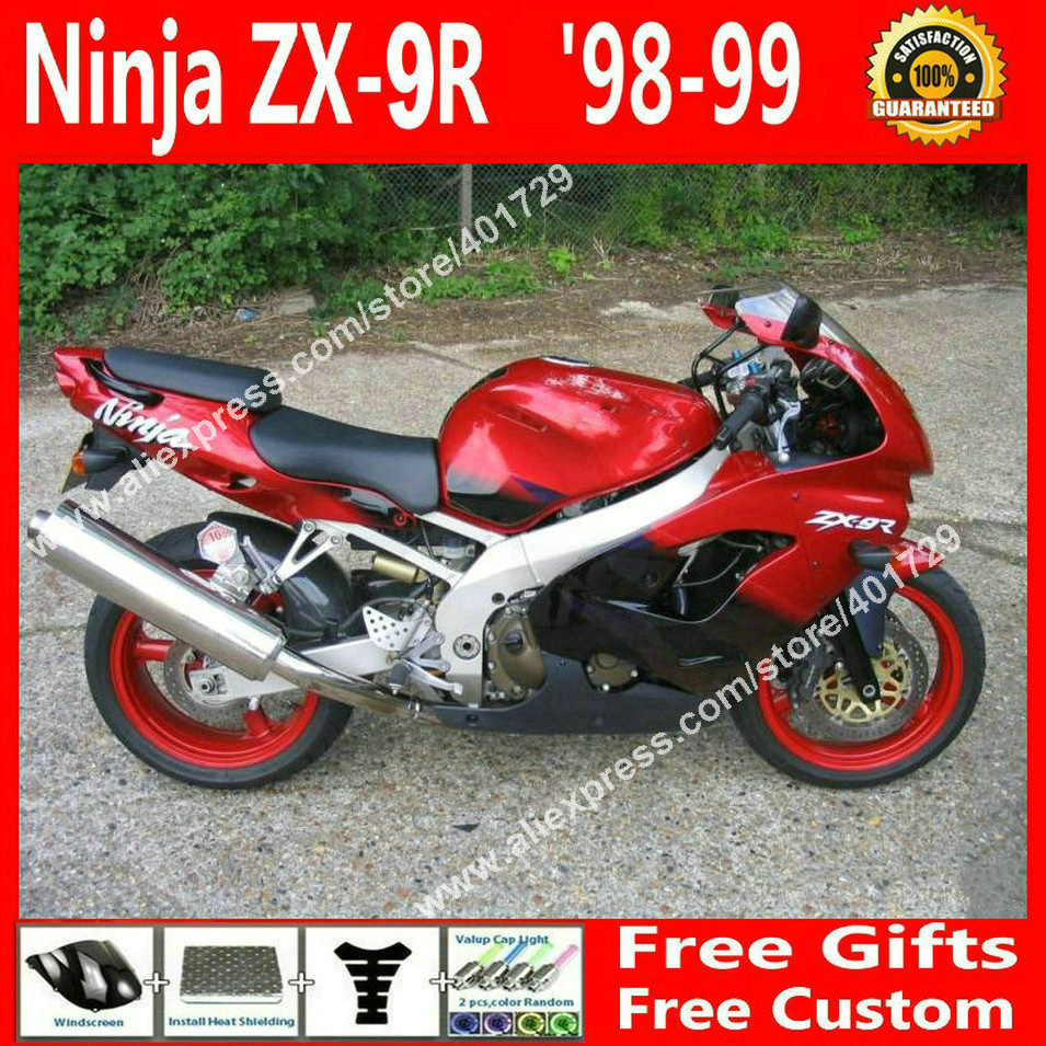 Brand new Fairings for bodywork 1998 1999 Kawasaki ZX9R 98 99 zx9 glossy red black motorcycle fairing 6 gift NJ865