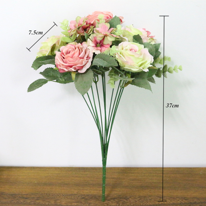Jarown Artificial Flowers Silk Plastic Flowers Pinecone Roses