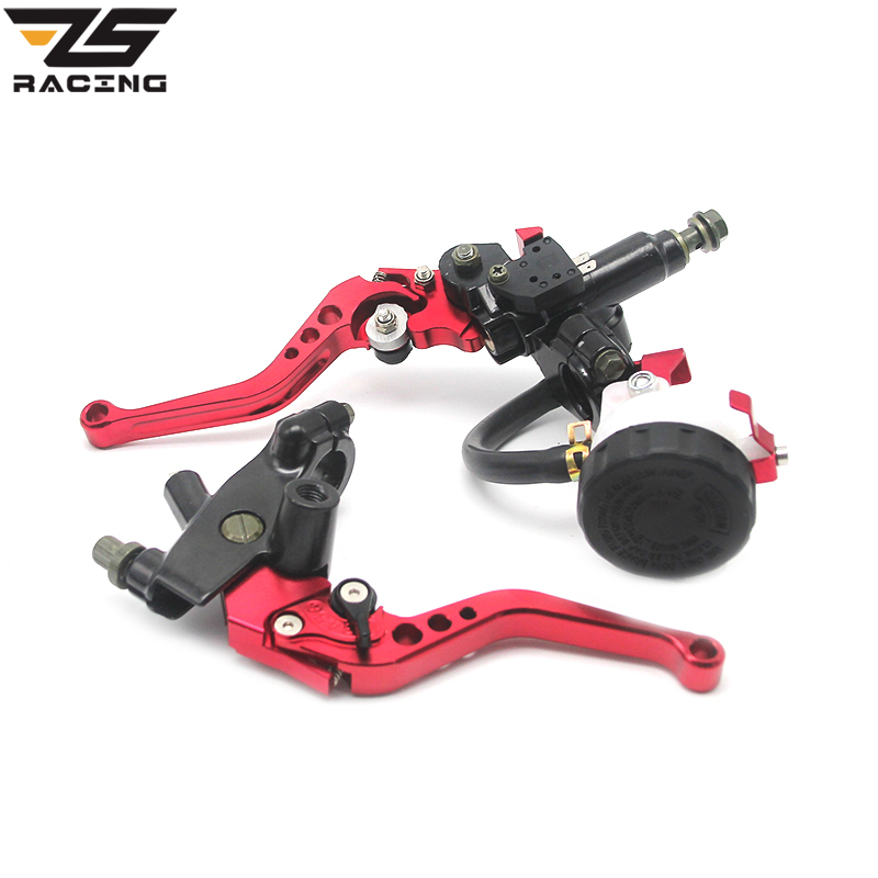 ZS Racing Universal CNC 7/8 22mm Red Motorcycle Brake Clutch Levers Master Cylinder Reservoir Set For Honda Suzuki Kawasaki D10 universal cnc 7 8 22mm silver motorcycle brake clutch levers master cylinder reservoir set for honda suzuki kawasaki yamaha d10