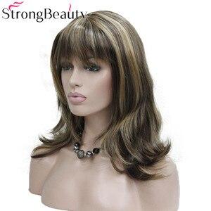 Image 3 - StrongBeauty ילדה סינטטי טבעי גל ארוך שיער אדום חום קוספליי פאות לנשים 5 צבעים