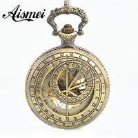 Bronze Hollow Compass Roman Numerals Mechanical Hand Wind Skeleton Pocket Watch Skeleton Gears Watch Men Women