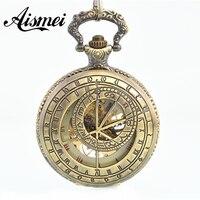 Hueco de bronce brújula números romanos mano viento mecánico esquelético del reloj de bolsillo esqueleto engranajes reloj hombres mujeres regalo de la cadena
