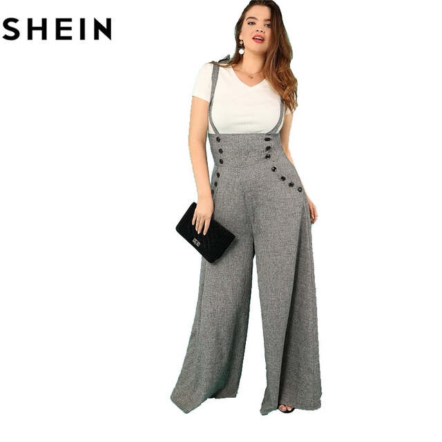 affdf0108d25 SHEIN Grey High Waist Wide Leg Straps Plus Size Office Lady Long Jumpsuits  2018 New Flare