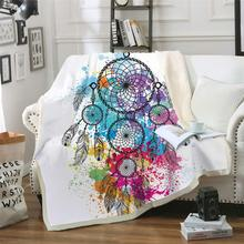 Dreamcatcher Blanket Watercolor Bohemian Moon Microfiber Sherpa Throw Colorful Exotic Bedding Mantas