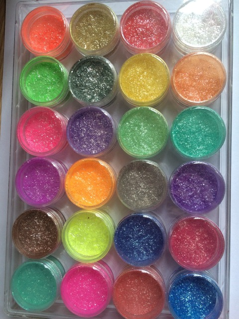 24 pieces High quality professional colorful eye brow makeup nail art bling bling mineral mica powder set pigment eyeshadow
