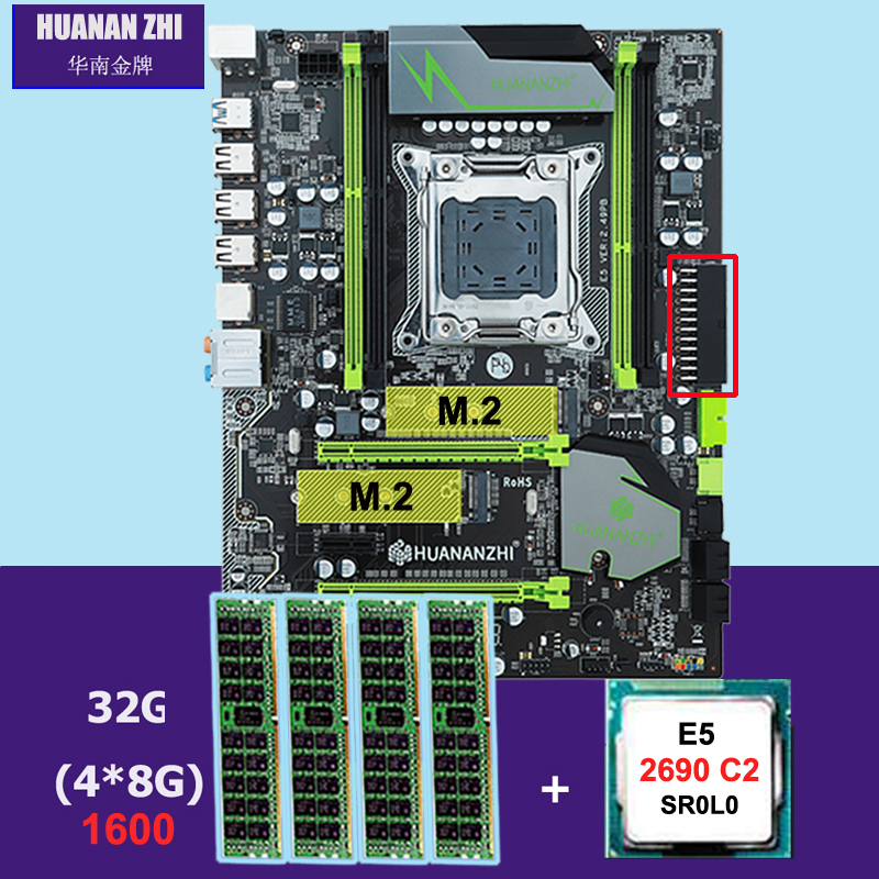 US $288 0 55% OFF|HUANANZHI X79 Pro motherboard with dual M 2 slot discount  motherboard with CPU Intel Xeon E5 2690 C2 2 9GHz RAM 32G(4*8G) RECC-in