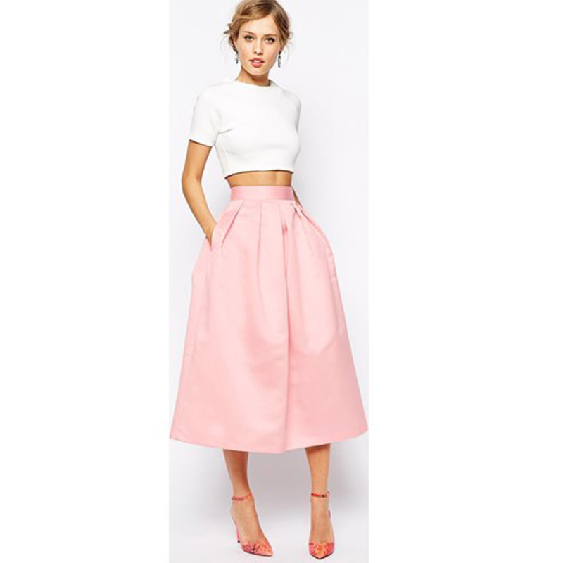 Graceful Blush Pink Satin Skirts 2017 -2018 With Pockets A-line Chic Invisible Zipper Waist Pleated Tea Length Skirt For Women