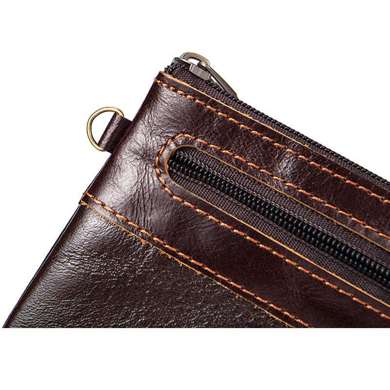 WESTAL portefeuille porte-monnaie en cuir véritable changement porte-monnaie Mini sac à main petits portefeuilles solide fermeture à glissière mode porte-monnaie 8118