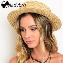 Ladybro Summer Women Boater Ladies Hat Casual Panama Hat Brand Classic Bowknot Straw Flat Sun Hat Cap Female Fedora Chapeau