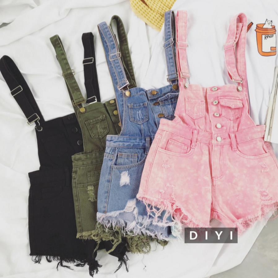 Women Denim Jeans Single-breasted Casual Hole Jumpsuit Romper Overalls Jeans Shorts