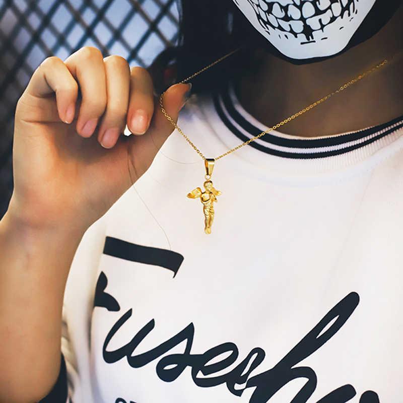 Naszyjnik ze stali nierdzewnej nowa moda anioł wisiorek Choker złoty naszyjnik przyjazne dla środowiska Boho naszyjnik łańcuch Collier kobiety biżuteria