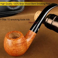 NewBee New 10 Smoking Tools Kit Briar Wood Smoking Pipe Classic Bent Wooden Tobacco Pipe 9mm Filter Masculine Gift aa0048