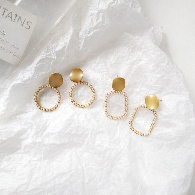 Korea Pearl earring female contracted fashion earrings Pearl Long Drop Earrings for Women Girl earrings in Drop Earrings from Jewelry Accessories