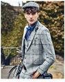 2017 Mens Custom Made Light Grey Ternos Xadrez Moda Vestido Formal Dos Homens Terno Do Casamento Dos Homens Ternos Do Noivo Smoking (jaqueta + Calça + Colete)