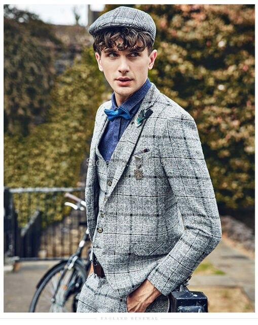2017 Por Encargo Para Hombre Gris Claro Trajes de Tela Escocesa de La Moda Vestido Formal de Los Hombres Traje de Boda de Los Hombres Trajes de Novio Esmoquin (Jacket + Pants + Vest)