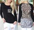 2017 весна Сексуальный Леопарда Печатных Женщины С Длинным Рукавом Шифон Рубашка Топы Блузка Рубашка Мода