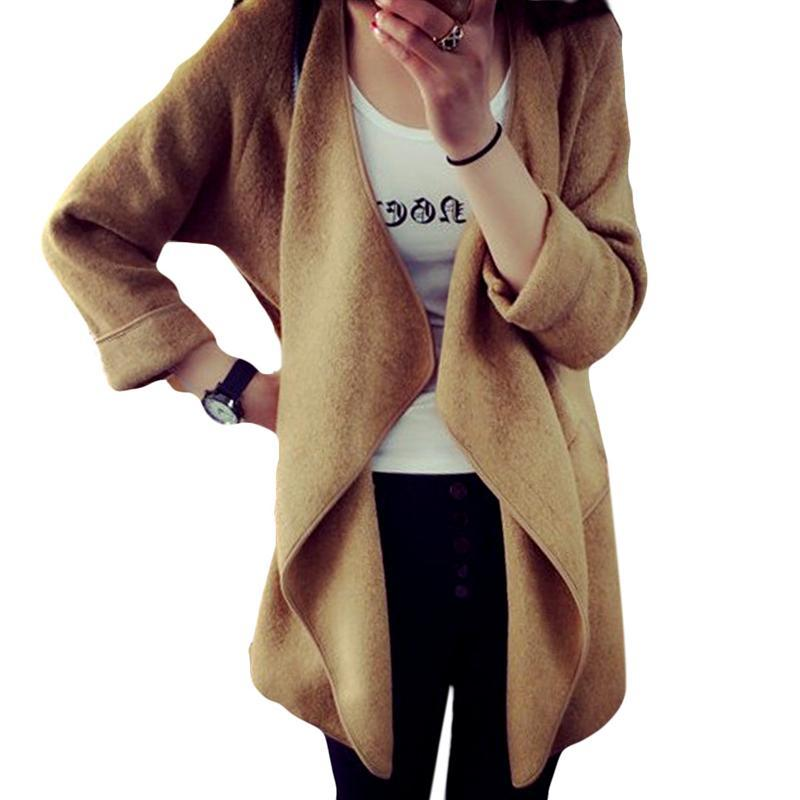 2016 Nuevo invierno mujer de punto de Cachemira cardigan suéter largo  sólido asimétrica delgada manga larga cuello caliente cardigan femenino 713b36511c04