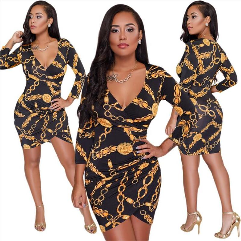 Women Autumn Printing Long Sleeve Sparkly Bodycon Dress Mini Dress Club  Short Party Dresses 2018 Fashion 364189cede8d