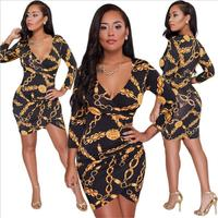 Women Autumn Printing Long Sleeve Sparkly Bodycon Dress Mini Dress Club Short Party Dresses 2018 Fashion Vintage Dress