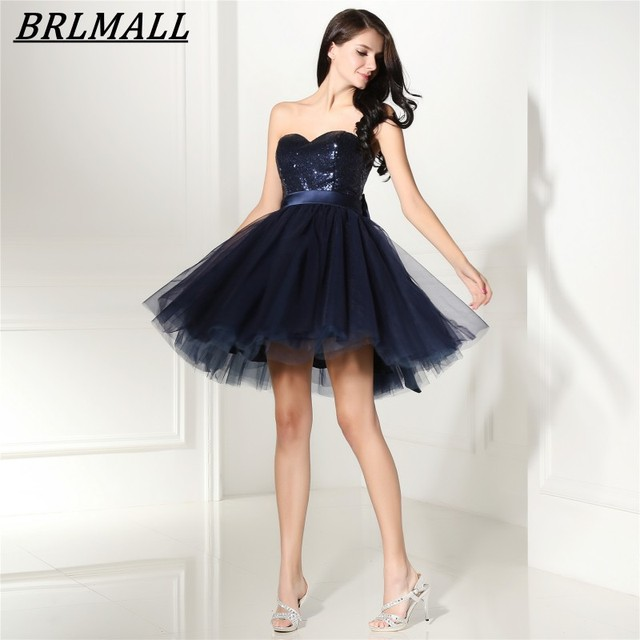 1f3d6d01dc8 BRLMALL Navy Blue Homecoming Dresses Sweetheart Backless Short Prom Dress  tulle Sequined Mini cute 8 grade graduation dresses