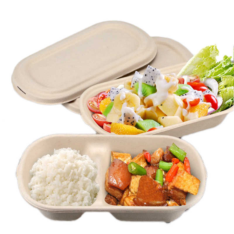 Disposable Platycod Food Box Restaurant Take Out Box Wood Color Fast Food Tray Nontoxic Bowl Package Tools Salad Bowl 20pcs/set