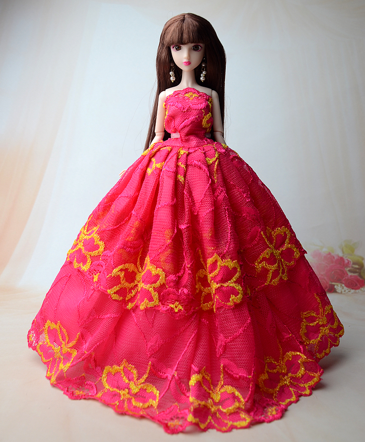 NK One Pcs 2016 Princess Marriage ceremony Costume Noble Social gathering Robe For Barbie Doll Style Design Outfit Greatest Reward For Woman' Doll 005O