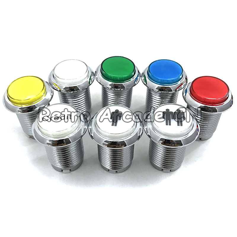 Free Shipping 33mm Diameter 28mm Mounting Hole CHROME Plated Illuminated 12v LED Arcade Push Button With Microswitch 5 Colors