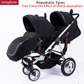 babyfond Twin baby strollers High quality luxury stroller baby can sit and lying folding four wheel double stroller