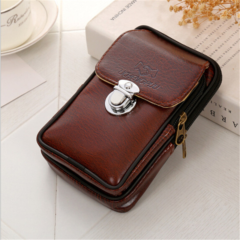 PU Leather Vintage Waist Packs Purse Men Travel Fanny Pack Belt Loops Hip Bum Bag Wallet Waist Bag Mobile Phone Pouch