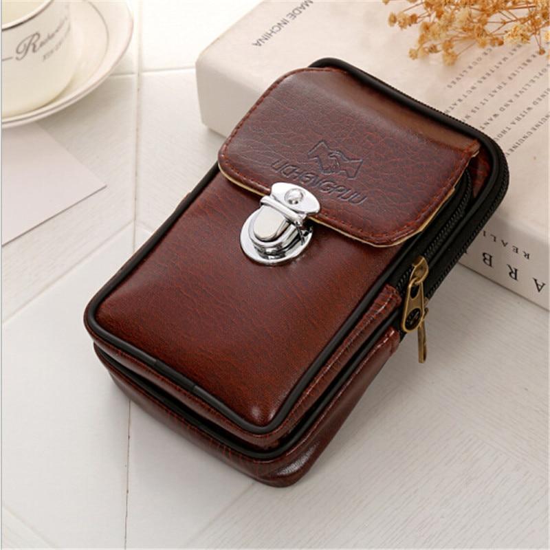 PU Leather Vintage Waist Packs Purse Men Travel Fanny Pack Belt Loops Hip Bum Bag Wallet Waist Bag Mobile Phone Pouch