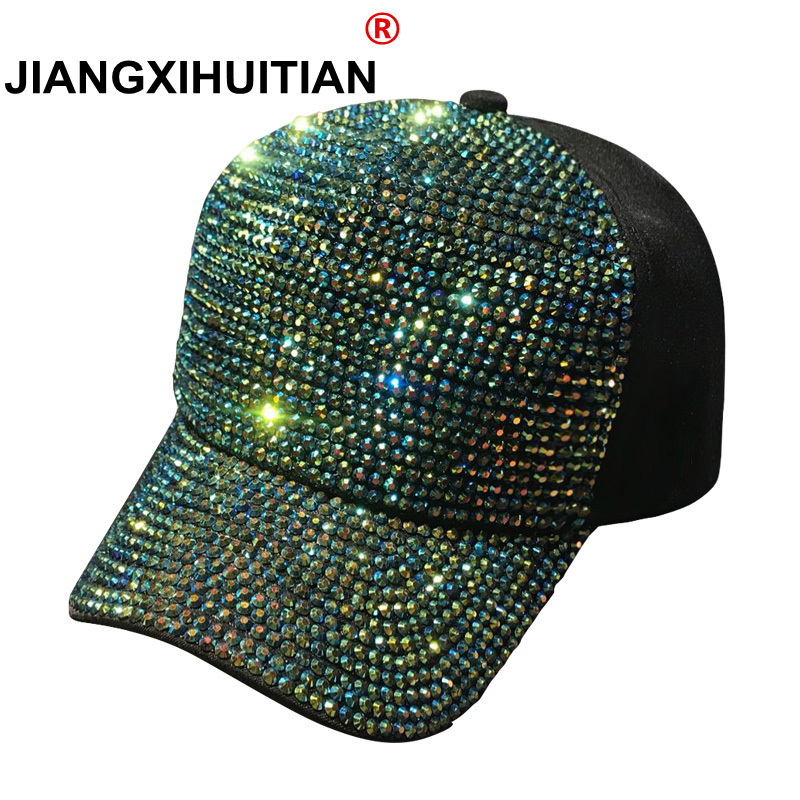 2018 Rhinestones luxury pearl Sequins   Baseball     Cap   For Women Summer Cotton Hat Girls Snapback Hip hop hat Gorras Casquette Bones