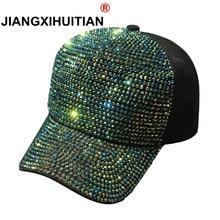 2018 diamantes de imitación de lujo perlas lentejuelas gorra de béisbol para mujeres de algodón de verano de sombrero de chicas Snapback Hip hop sombrero Gorras gorra huesos