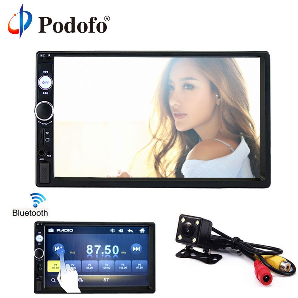 Podofo 2DIN Car Radio 7 Car Stereo Player Car Multimedia Player MP5 Touch Display Bluetooth USB Autoradio Car Backup Camera цена