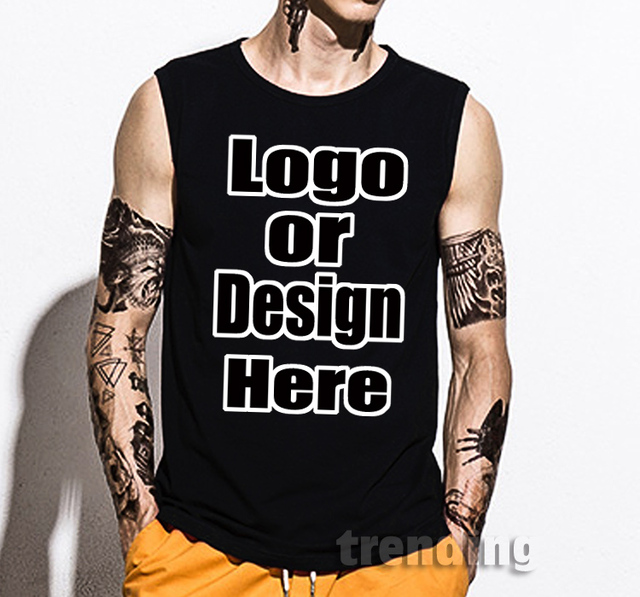 9d2dbd88e3 Fashion cotton Man boy custom Personalized logo DIY Summer Street hip hop  concert sleeveless Top tee vest tank top