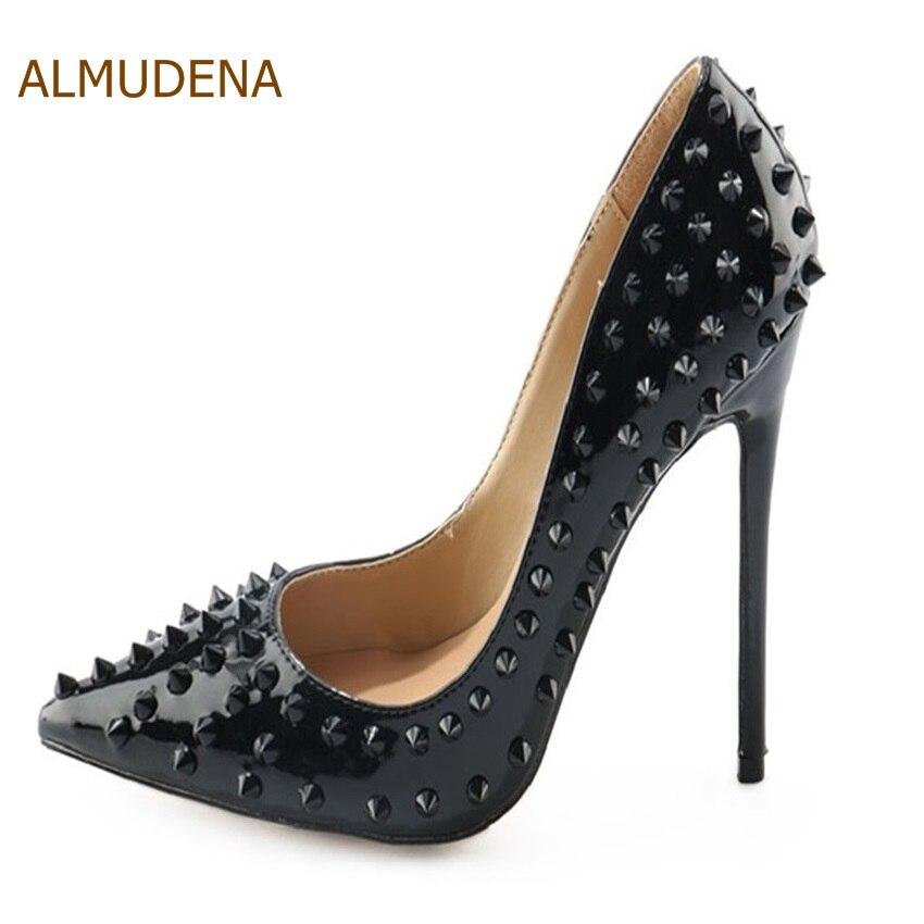цена на ALMUDENA Hot Sale Black Sexy Rivets Stiletto Heels Pointed Toe Patent Leather Dress Pumps Women Ultra High Heel Studded Shoes