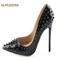 ALMUDENA Hot Sale Black Sexy Rivets Stiletto Heels Pointed Toe Patent  Leather Dress Pumps Women Ultra c7ca15a41b7c