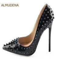 Almudena حار بيع فستان أسود مثير المسامير الخنجر أشار تو براءات مضخات المرأة الترا عالية الكعب الأحذية المرصعة