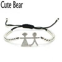 Cute Bear Pave Setting Zircon CZ Lovely Boy Girl Bracelets Fashion 4mm Round Beads Bracelet Women