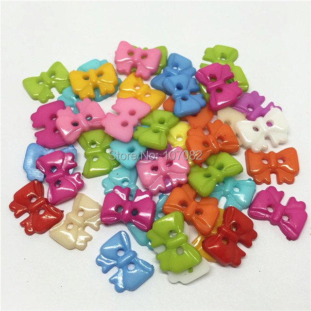 1000pcs/lot 17*13mm Plastic Bow Buttons Sewing Accessories Button Scrapbooking Cardmaking
