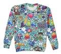 Frete grátis! outono Nova moda Das Mulheres Dos Homens Dos Desenhos Animados Padrão de Impressão Bordado 3D/Galaxy moletons hoodies da camisola Tops