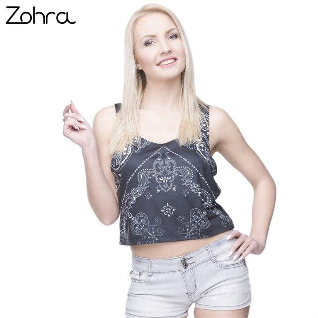 e64de152ebd1 Zohra Hot Sale New Arrival Short Tank Tops Black Bandana Printing Women  Crop Top Sexy Vest Camis